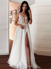 LORIE Boho кружевное свадебное платье сексуальное v-образный вырез Аппликации Свадебные платья с разрезом сбоку Vestido De Novia на заказ(China)