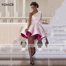 Короткие платья на одно плечо для выпускного вечера 2020 атласные кружевные рукава Мини коктейльные платья для выпускного вечера вечерние пл...(Китай)