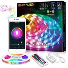 Светодиодный светильник RGB 5050 Wifi Bluetooth светодиодный светильник DC 12V 5M 10M лента диодный AC85-265V RF музыка гостиная сделай сам украшение лампа(Китай)