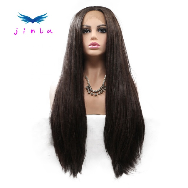HD lace frontal Wigs Hair long Silky Straight synthetic for human