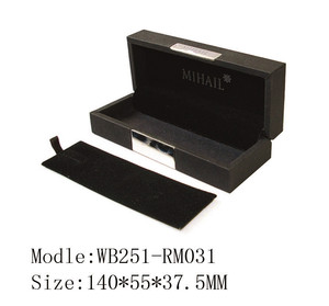 High quality PU wrapped MDF wooden pen box for gift packing with customer metal logo in TAI TUNG factory wooden box