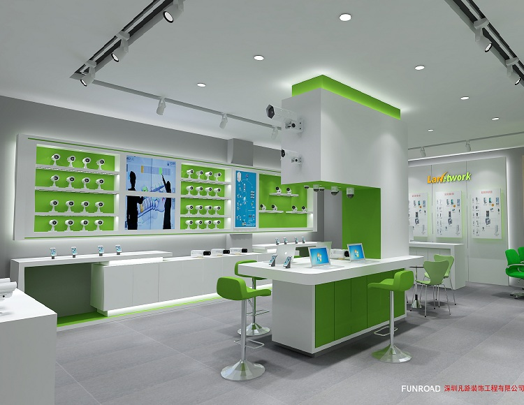 Attractive cellphone and CCTV store interior decoration design