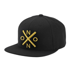 High Quality Custom 100% Cotton Golden 3D Embroidery 6 Panel Snapback Caps, Black Flat Brim Cotton Snapback Hat Custom