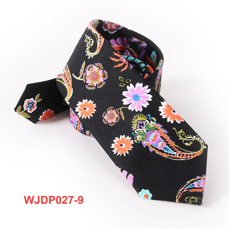 Mens Red Floral Pattern Tie 100% Cotton Printing Necktie
