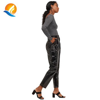 high waist one button pleated women 3/4 patent jersey faux leather pant reflective shiny street pu leather pant with side pocket
