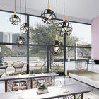Popular products indoor metal iron globe decorative kitchen dining pendant lamp black chandelier vintage light
