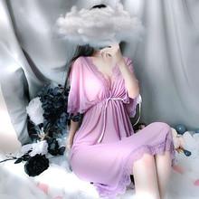 4 цвета, летнее сексуальное нижнее белье, глубокий v-образный вырез, сетчатая сетка, Женское ночное белье, шелковая ночная рубашка, спальное п...(Китай)