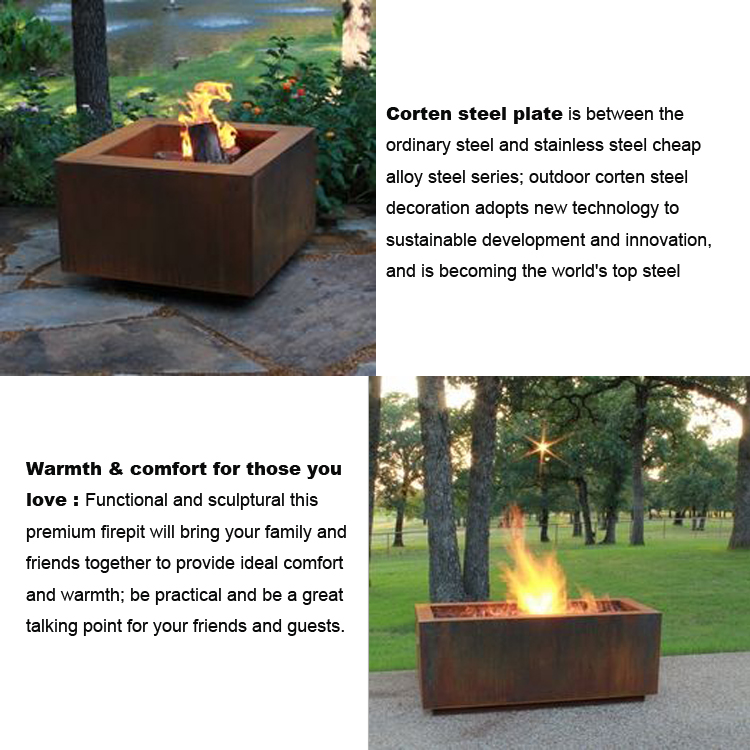 Decorative  Modern Design Outdoor Warming Corten Steel Fire Pit