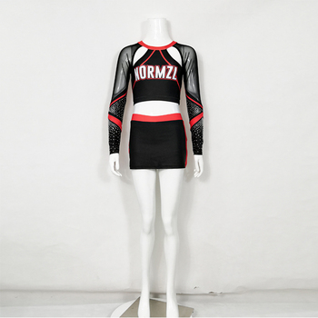 Long Sleeve Mesh Breathable Fabric Custom Service Girl Sexy Cheerleader Skirt Cheerleading Outfits