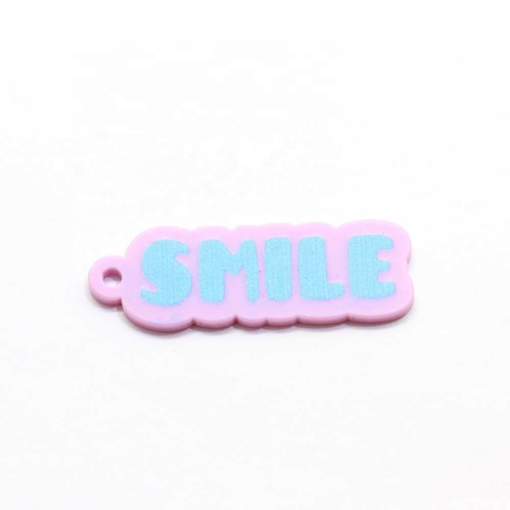 100pcs Acrylic Planar Flat Back Resin Cabochons SMILE Letters Small Tags DIY Decoration Craft Jewelry Accessories Charms