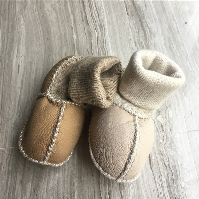 Wool fur soft sole winter baby shoes boots