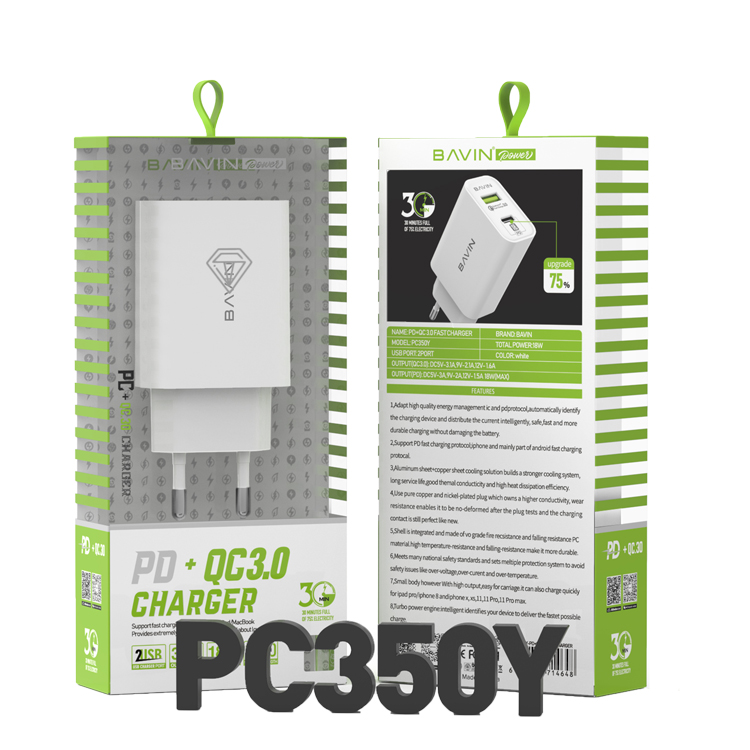 High Quality 18W Mobile Phone QC 3.0 Fast Type C PD Portable Home Wall Travel USB Charger for smart phone