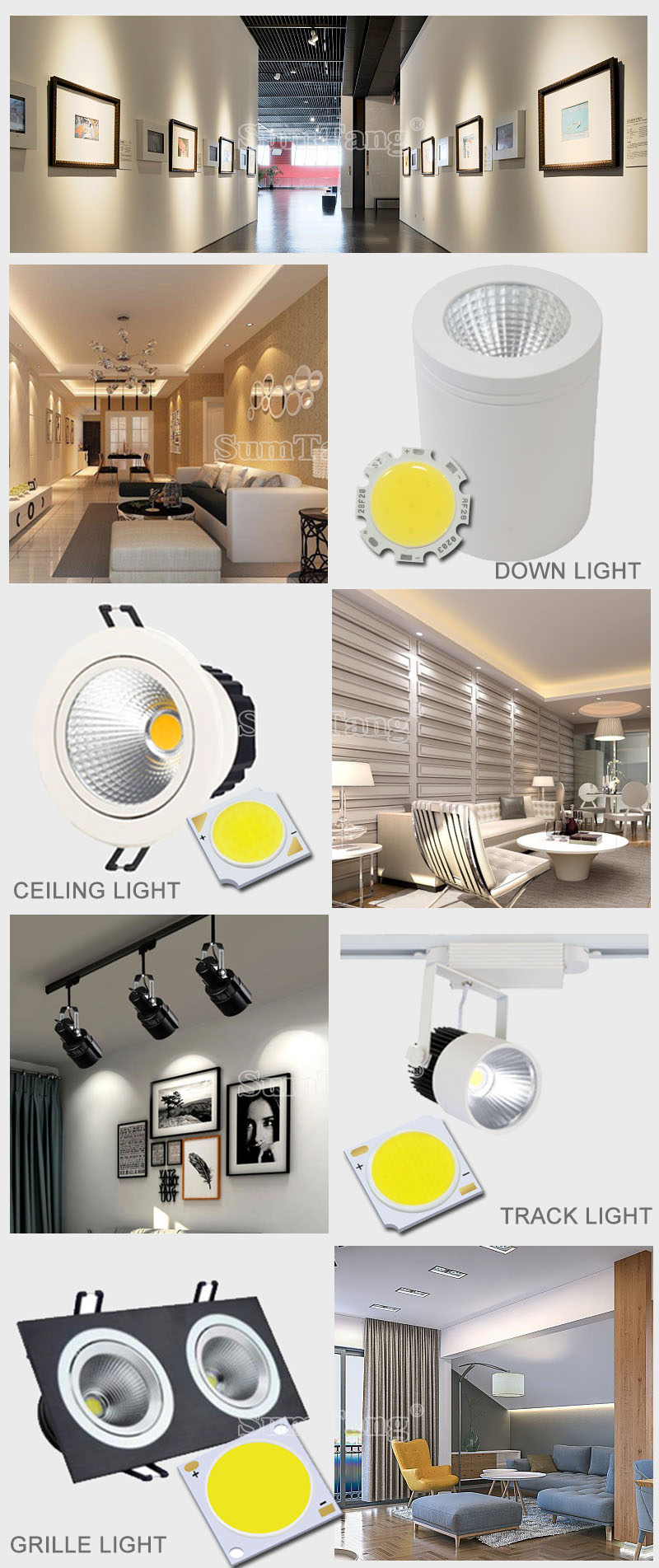 3W 5W 7W 10W Epistar Bridgelux Chinese Brand chip led COB for downlight tracking light