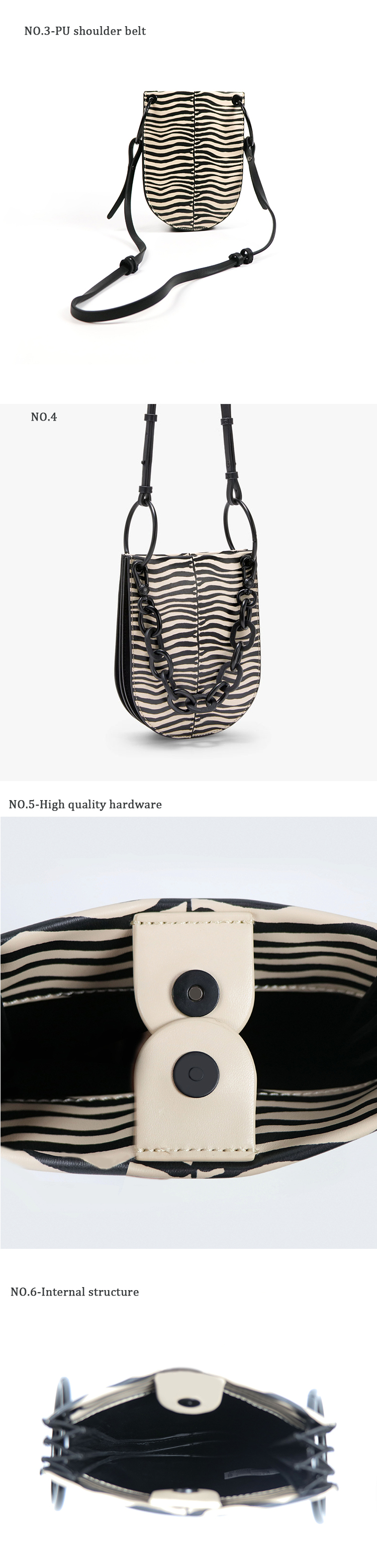 New style zebra-striped lading shoulder cross body bag chain material decorative chain fashion bag woman handbag