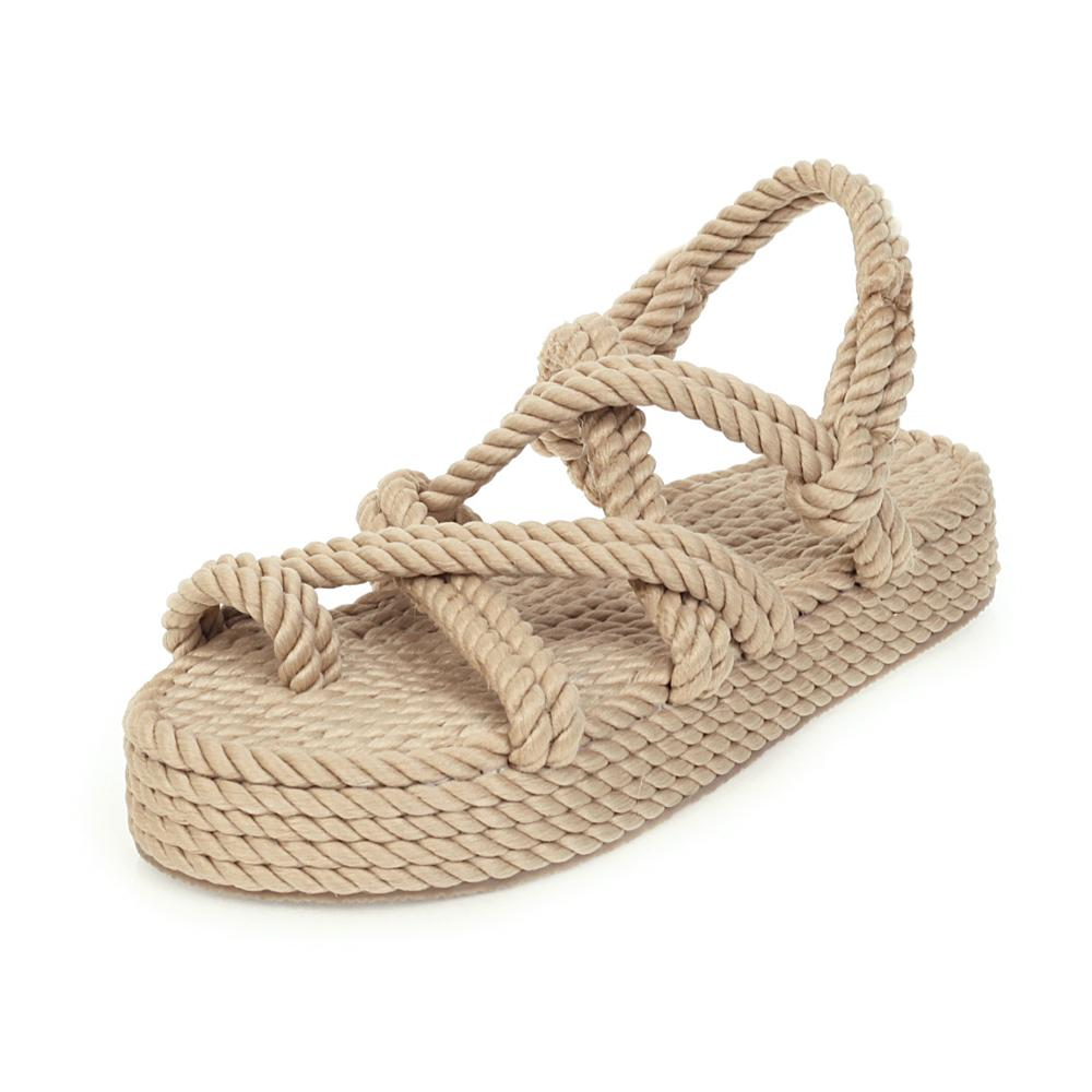 2020 New Arrival Chaussure Femme Sandale Open Toe Fashion High Thick Platform Handmade Rope 2020 Women's <strong>Sandals</strong>