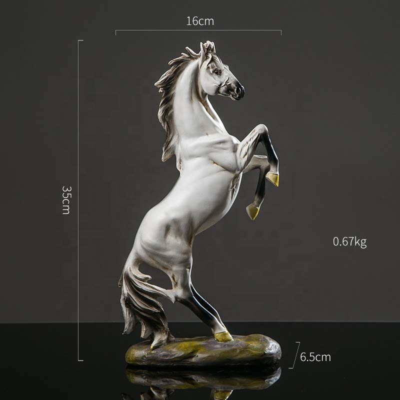 2020 New Arrivals Horse Art Resin Black White Horse Statue Other Horse Products