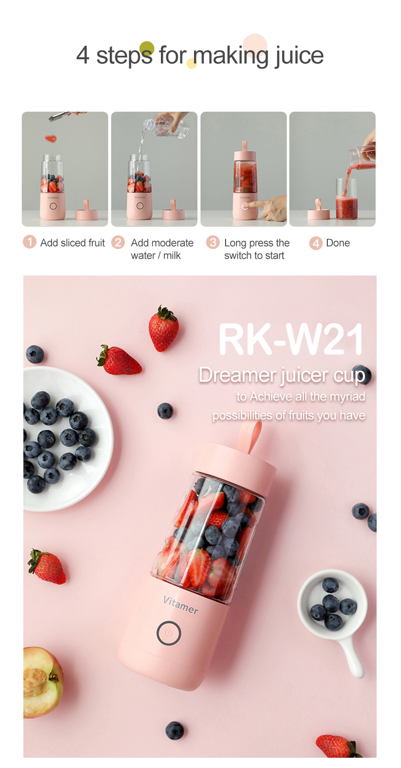 RK-W21Juicer Blender Freshly squeezed juice mixer 350ml Rechargeable portable Blender vitamer 2000mAh juice bottle