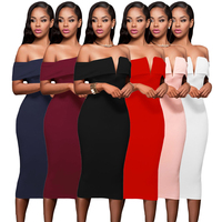 2019 Sexy Women Elegant Pencil Off Shoulder Party Bodycon Midi Pencil Women Dress