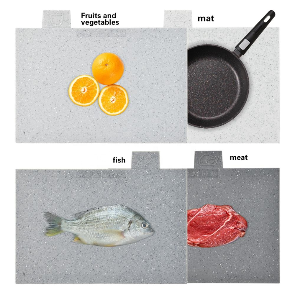 Fissman Indeks Plastik Chopping Block Non-Slip Marble Coating Tikar Plastik Cutting Board dengan Stand-4pcs Set