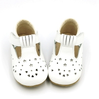 New White Solid Color Mary Jane Baby Shoes With Elastic band Design