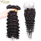 Factory price deep wave bundles with lace frontal,virgin brazilian deep curly weft human hair