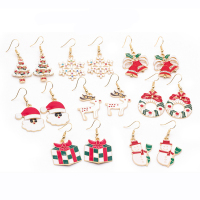 Newest Novelty Enamel Flashing Santa Hat Snowflake Deer Tree Bell Christmas Earrings Set for Women Girls Gift Jewelry