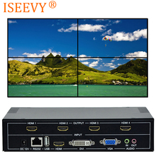 ISEEVY 4 Channel Video Wall Controller 2x2 TV Wall Processor with RS232 Control for 4 TV Splicing