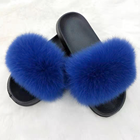 High-quality wear-resistant and soft EVA sole material Fox fur lady slippers