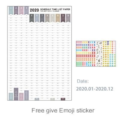 Настенный бумажный календарь на 365 дней, ежедневник для офиса и школы, очень большой план на новый год, 2020(Китай)