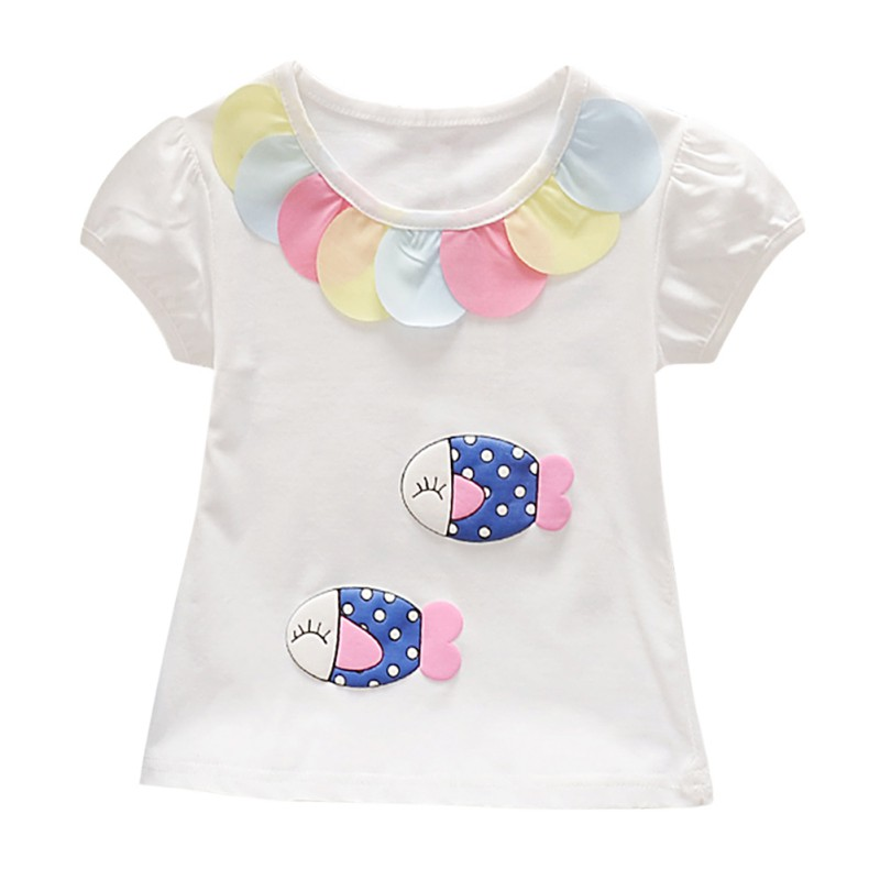Baby Girl Summer Clothes Toddler 100% Cotton T Shirt Short Sleeve T Shirts Puff Print Kids Cute Tops Tshirt