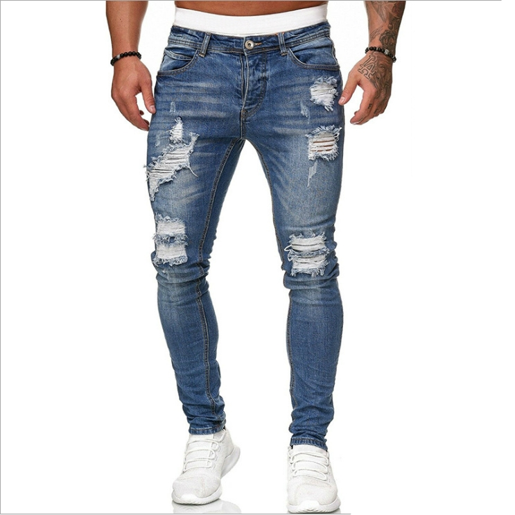 Men's Distress Ripped Slim Fit Denim Pants Fashionable High Street Jeans Trousers for men