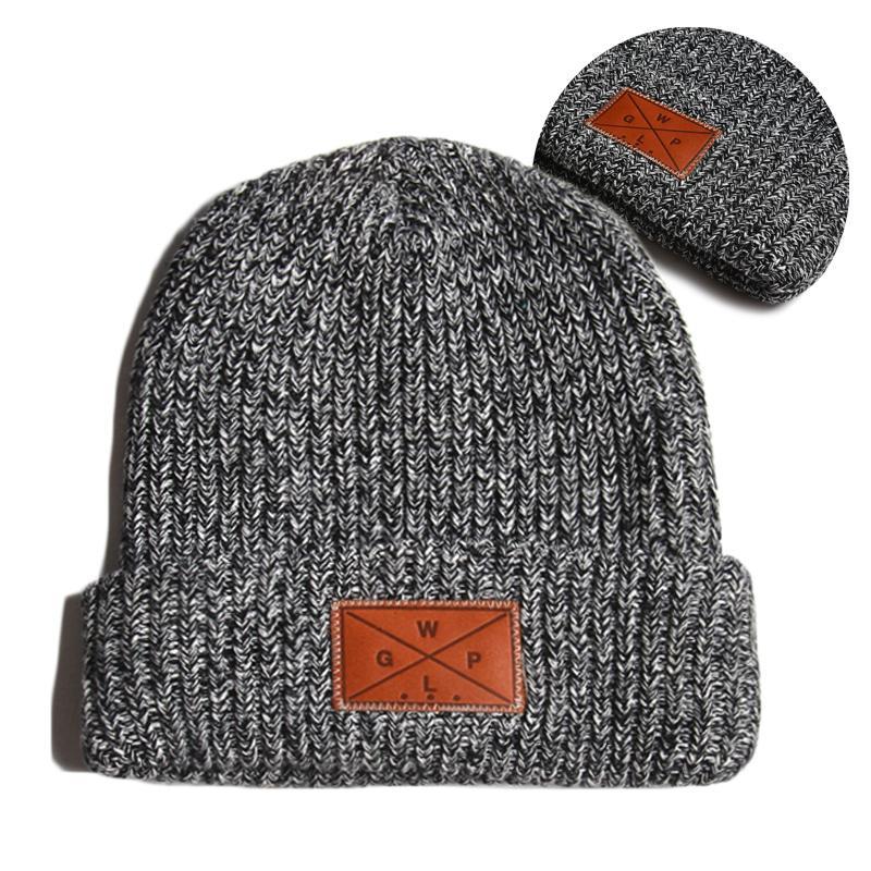 Designer Your Own Leather Patch Winter Cap,Custom Men Women Cotton Wool Knit Beanie Hat Unisex