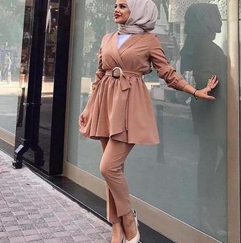 NEW muslim casual Two Set islamic fashion 2pc top and pants wholesale islamic clothing