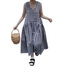 Женское длинное платье в богемном стиле без рукавов Vestidos ZANZEA клетчатое платье из хлопка и льна халат 2020 повседневный летний сарафан 5XL(Китай)