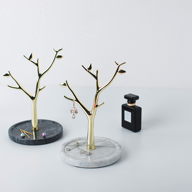 Best Quality Low Price Oem Marble Trays Metal Jewelry Display Tree Stand with Marble Base