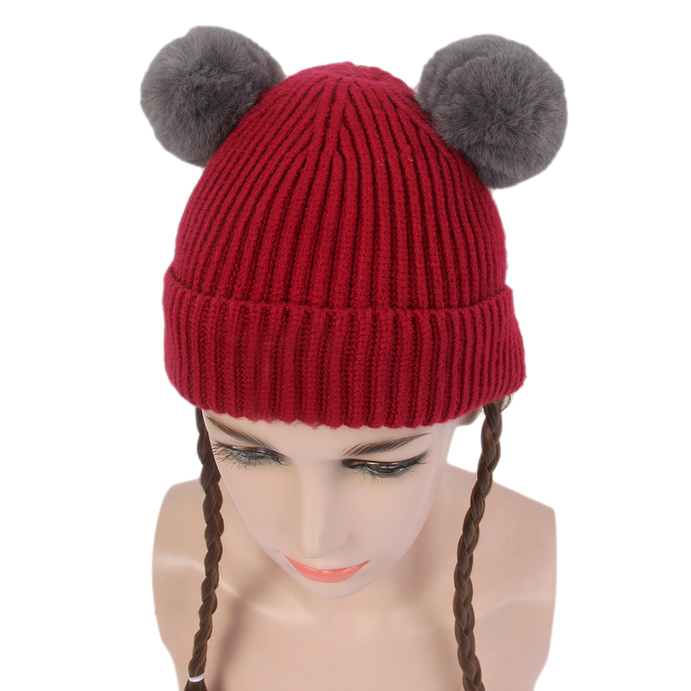 Kid Knit Cap Wigs BlackLong Double Braids Wig Synthetic Hair Knitted hat wigs For Kids