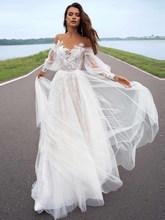 LORIE 2020 свадебное платье с длинным рукавом, ТРАПЕЦИЕВИДНОЕ свадебное платье с длинным рукавом и шлейфом, индивидуальный пошив, платья принце...(China)