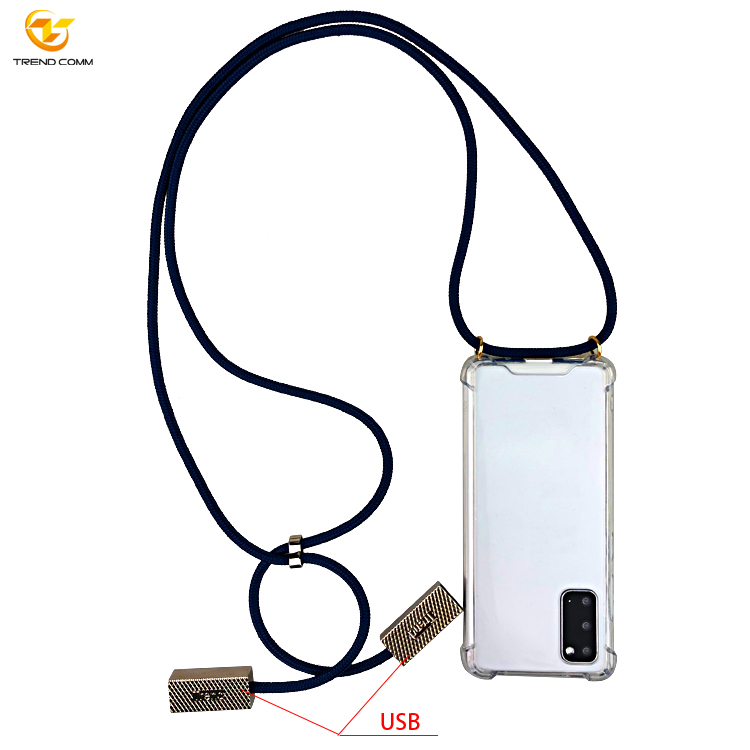 Clear USB Cable Crossbody Necklace Phone Case  For Samsung S20 Case