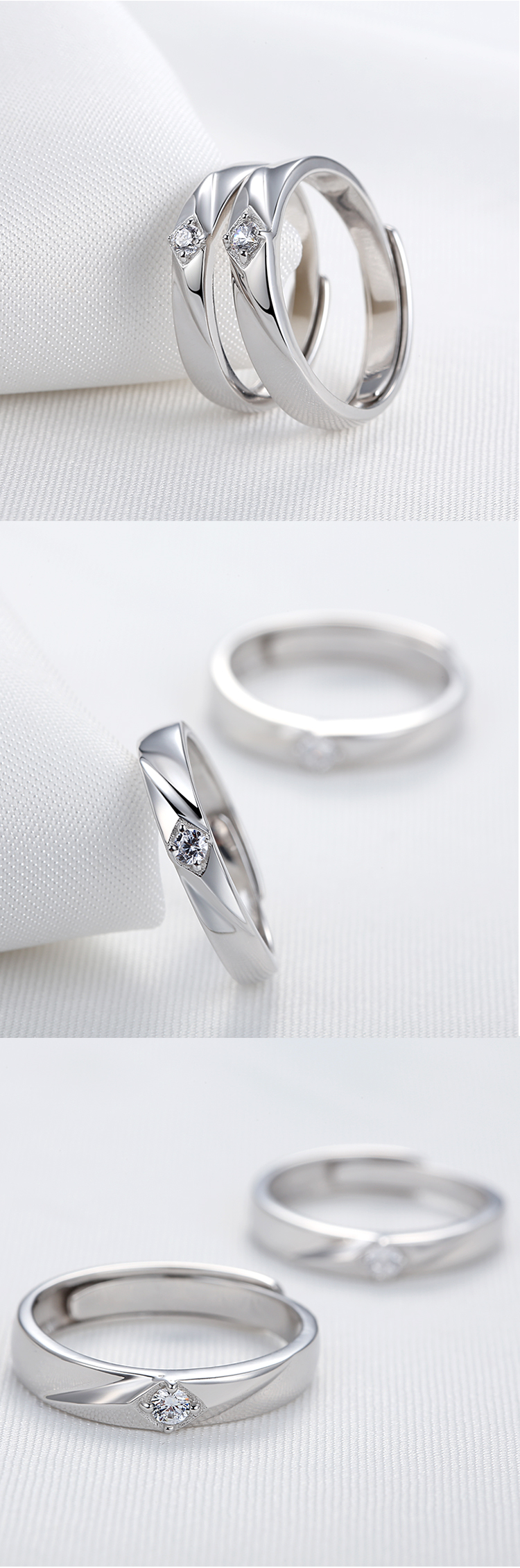 Latest Design Customized Couples Sterling Silver Zircon Rings