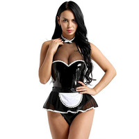 2019 New Black Extreme Sexy costumes women Cosplay Maid Uniform Sexy Lingerie