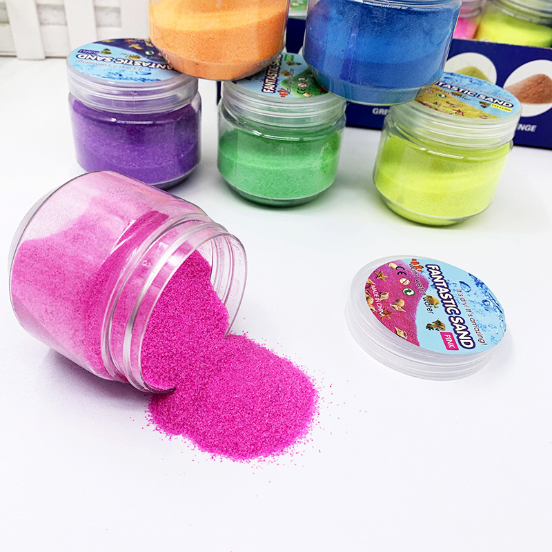 Hot sales 6 pcs colorful magic sand children's toy sand not wet magical sand