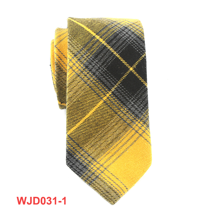 Mens Leisure Yellow Woven Ties Fancy Checked Design Necktie Wholesale