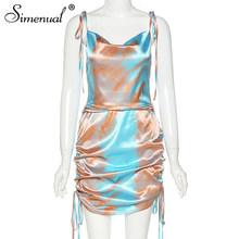 Simenual платье с краской для галстука, атласные со шнурком, женское платье на бретельках с открытой спинкой, без рукавов, популярные, сексуальн...(Китай)