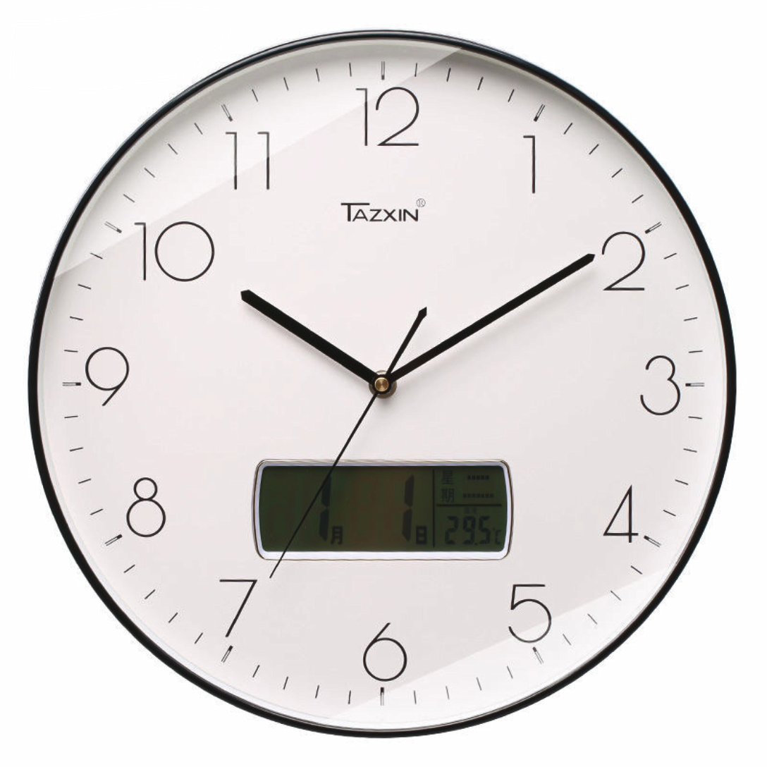 12นิ้วตกแต่งโมเดิร์นรอบกำแพงราคาถูกนาฬิกาวันที่เวลา