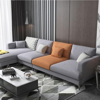 Living Room Furniture Couch Wooden Sofa Cum Bed L Shaped Sofa Set Fashion Fabric European Sectional Sofa
