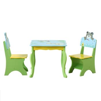 Tavolo In Legno Per Bambini Con Sedie.Per Bambini In Legno Safari Animale Da Tavolo Di Studio E Sedie