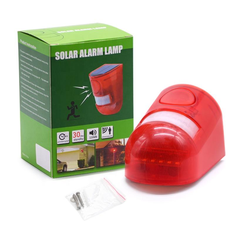 Granja Villa Alarma de Seguridad Solar con Sensor de Movimiento Luz Estrobosc/ópica de Alarma Solar Impermeable L/ámpara de Advertencia para Jard/ín