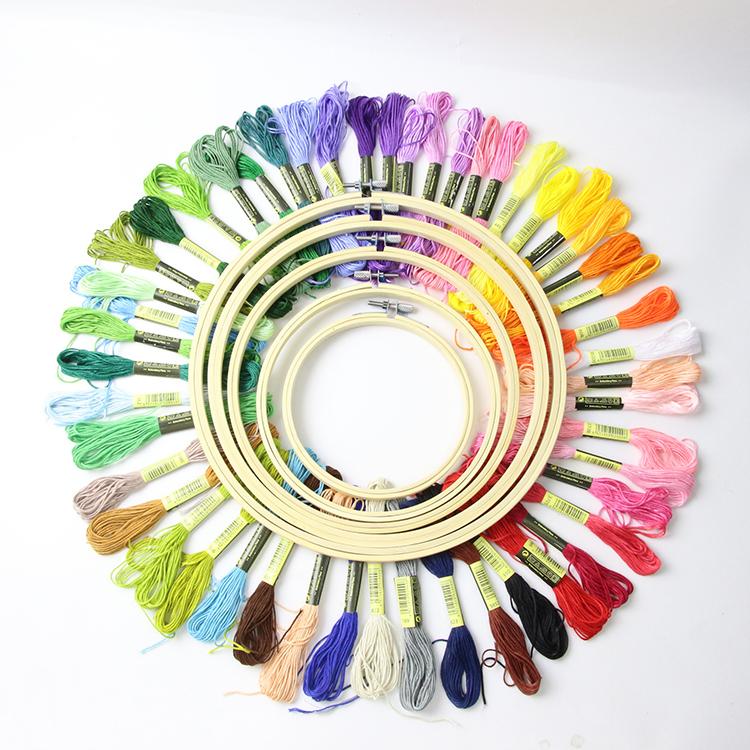 Экологичный круглый 50 цветов бамбуковый Набор для вышивания