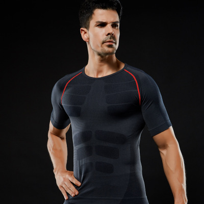 Wholesale Quick-dry Slimming Men's Short Sleeve Sports Wear T-shirt Dry Fit Running Shirt 7