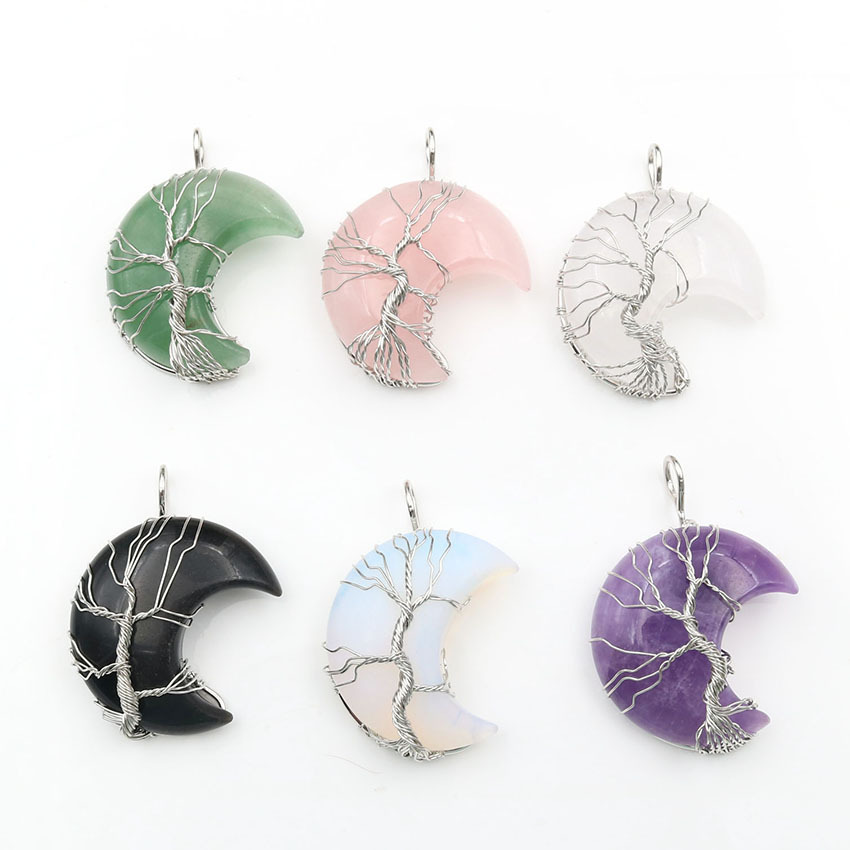 mookaitedecor Tree of Life//Moon and Sun Pendant Wire Wrapped Crystal Necklace